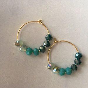 Gorgeous ombré AB glass bead hoop earrings